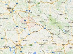 kaart Zuid Duitsland - Regio Beieren - plaats Regensburg
